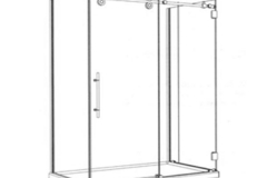 Barn Style Sliding Door on Shower Pan 1 Sliding Panel, 1 Inline Stationary Panel & 1 return panel