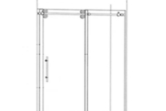 Barn Style Sliding Door on Shower Pan1 Sliding Panel & 1 Inline Stationary Panel