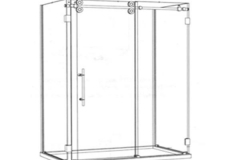 Barn Style Sliding Door on Shower Pan1 Sliding Panel, 2 Inline Stationary Panels & 1 return panel