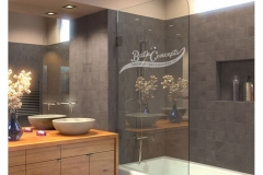 1 Frameless bathscreen with a radius corner CLEAR GLASS  BRUSHED NICKEL HARDWARE