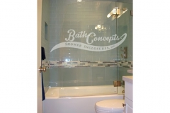 11 Frameless nautica  bathscreen hinged off an inline panel  CLEAR GLASS BRUSHED NICKEL HARDWARE 1141 - 1241