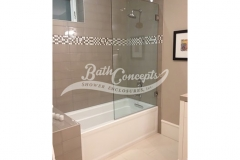 4 Frameless  square bathscreen CLEAR GLASS  CHROME HARDWARE