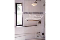 6 Frameless  sqaure bathscreen with a towel bar CLEAR GLASS  CHROME & GOLD HARDWARE 1140S