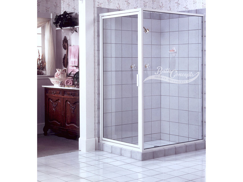 1 Semi-frameless corner enclsoure with a swinging door and a return panel  with a full structure frame CLEAR GLASS  WHITE HARDWARE 392