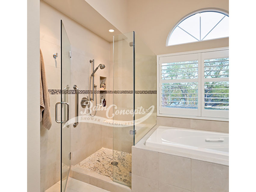 18 Frameless corner enclosure with an inline & return stationary panel CLEAR GLASS BRUSHED NICKEL HARDWARE 1193 - 1293