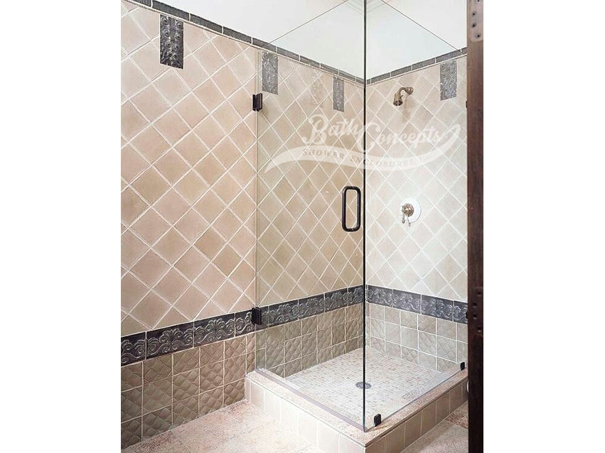 2 Frameless corner shower enclosure with a swinging door and a return panel CLEAR GLASS OIL RUBBED BRONZE HARDWARE 1192 - 1292