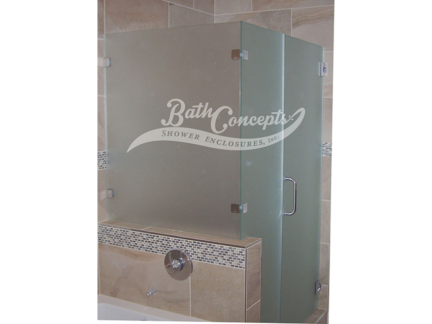 20 Frameless corner enclosure with an inline & return stationary panel CLEAR GLASS CHROME HARDWARE 1193 - 1293