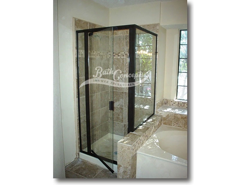 3 Semi-frameless corner enclosure with a swinging door,an inline & return panel & a full structure frame CLEAR GLASS  OIL RUBBED BRONZE HARDWARE 393