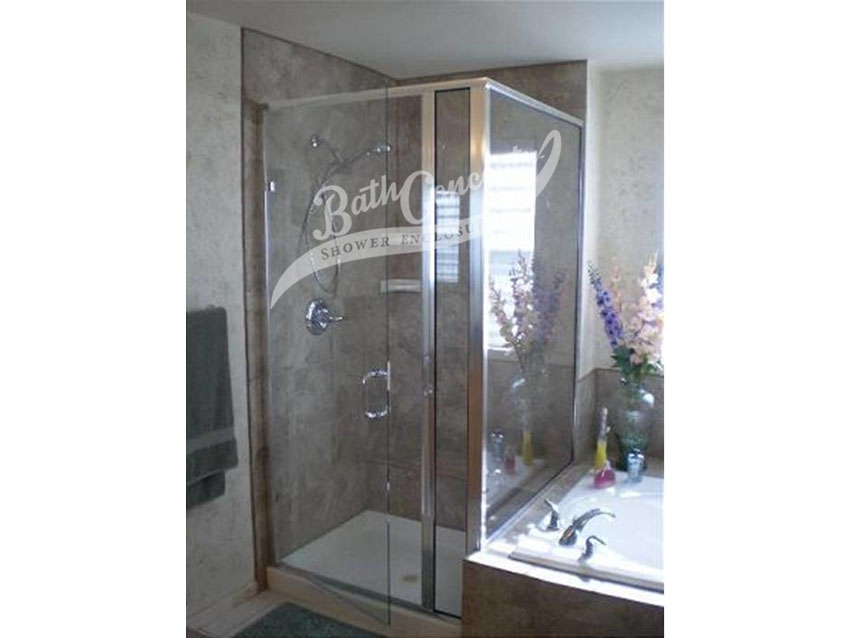 4 Semi-frameless corner enclsoure with a swinging door, an inline panel, a return panel and a drill  with a full structure frame CLEAR GLASS  SILVER HARDWARE 393