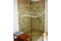 14 Frameless corner enclosure with an inline & return stationary panel CLEAR GLASS BRUSHED NICKEL HARDWARE 1193 - 1293