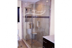 15 Frameless corner enclosure with an inline & return stationary panel CLEAR GLASS CHROME HARDWARE 1193 - 1293
