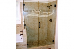 16 Frameless corner enclosure with an inline & return stationary panel CLEAR GLASS OIL RUBBED BRONZE HARDWARE 1193 - 1293