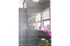 27 Frameless steam corner enclosure with an inline & return stationary panel CLEAR GLASS CHROME HARDWARE 1193 - 1293