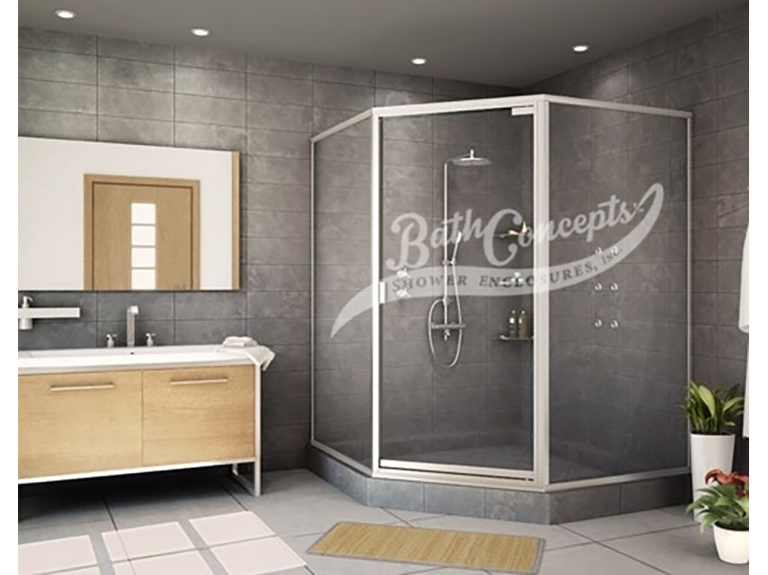 1 Semi-frameless neo angle enclosure with a swinging door, and 2-135 degree angled panels with a full structure frame CLEAR GLASS  BRUSHED NICKEL HARDWARE 394