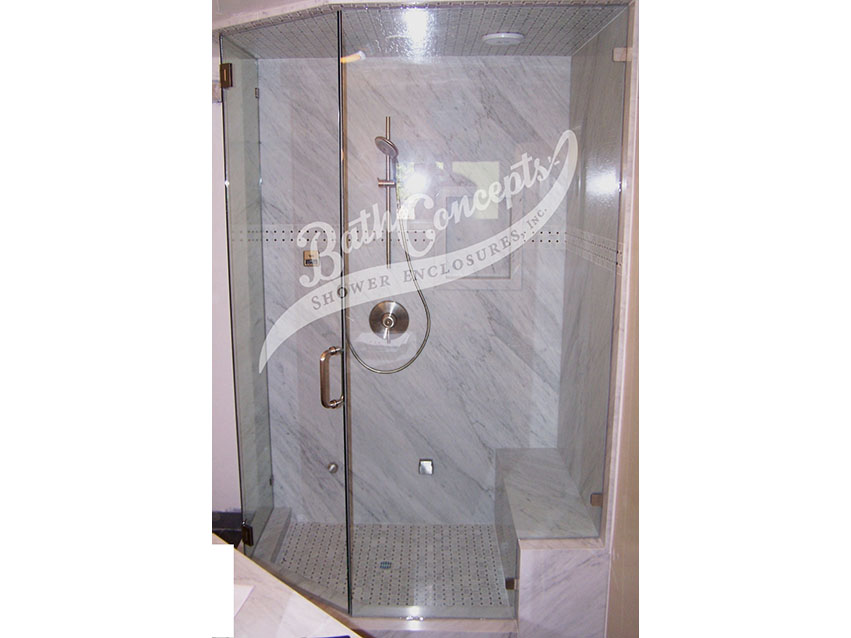 12 1294 Frameless steam neo angle enclosure  with door hinged off the wall and 1 135 degree angled panel CLEAR GLASS BRASS HARDWARE 1194 - 1294