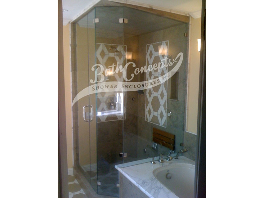 13 1294 Frameless neo angle enclosure  with door hinged off the wall an inline panel a 135 degree angled panel and a return panel CLEAR GLASS BRASS HARDWARE 1194 - 1294