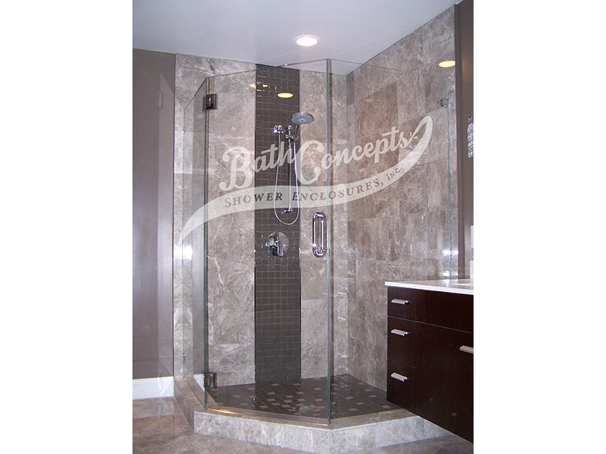3 1294 Frameless neo angle enclosure with door in center and 2-135 degree angled panels CLEAR GLASS CHROME HARDWARE 1194 - 1294