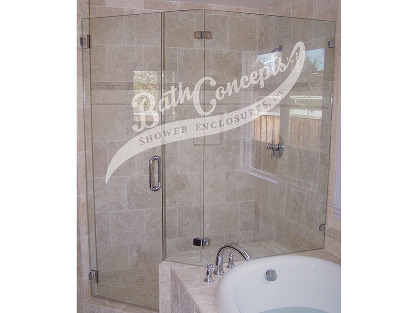 8 1294 Frameless neo angle enclosure  with door hinged off the wall, and inline panel & 135 degree angled panel CLEAR GLASS CHROME HARDWARE 1194 - 1294
