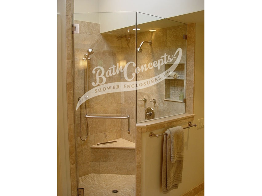 9 1294 Frameless neo angle enclosure  with door hinged off the wall and 1 135 degree angled panel CLEAR GLASS BRASS HARDWARE 1194 - 1294