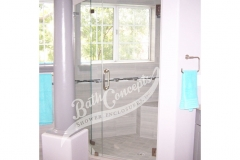 10 1294 Frameless neo angle enclosure  with door hinged off the wall and 2 135 degree angled panels CLEAR GLASS BRUSHED NICKEL HARDWARE 1194 - 1294