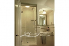 3 Frameless single swinging enclosure CLEAR GLASSS BRUSHED NICKEL HARDWARE
