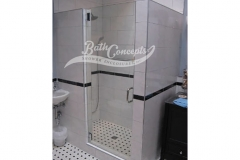5 Frameless single swinging enclosure CLEAR GLASS CHROME HARDWARE