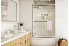 1 Frameless traditional sliding enclosure with 2 towel bars CLEAR GLASS BRUSHED NICKEL HARDWARE  340D - 350D - 1040 - 1050