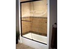 2 Frameless traditional sliding enclosure with S curve cut in glass and 1 towel bar 1 knob CLEAR GLASS OIL RUBBED BRONZE HARDWARE  340D - 350D - 1040 - 1050