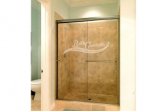 4 Frameless traditional sliding enclosure with 1 towel bar and 1 knob CLEAR GLASS BRUSHED NICKEL HARDWARE  340D - 350D - 1040 - 1050