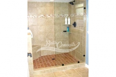 1 Frameless square stationary panel CLEAR GLASS OIL RUBBED BRONZE HARDWARE