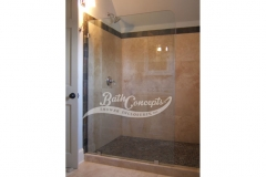 3 Frameless stationary panel  with a radius CLEAR GLASS CHROME HARDWARE