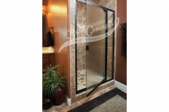 2 Semi-frameless swinging door and an inline panel enclosure with a full structure frame CLEAR GLASS  OIL RUBBED BRONZE FRAME 391